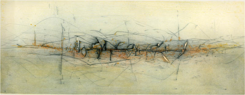 NORTHERN LANDSCAPE I 2001 Aquatint, drypoint Plates Copper (2) Zinc (1) 200 x 490 mm. Paper Velin Cuve BFK Rives 390 x 650 mm. 3 Inks Edition 60 /60 PA VI / VI Edited in El Taller Gravura, Malaga.